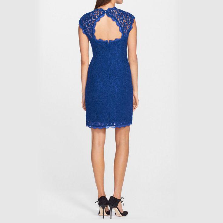 「オープンバック・レースシースドレス」 鮮やかなブルーの繊細なレースドレス。 背中のカットアウトもポイントです。 #Wedding #Party #Dress #Lace #Navy