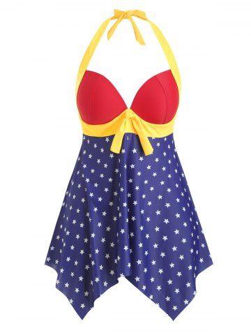 Halter Handkerchief American Flag Plus Size Tankini Swimsuit –  HaltePlus Size Tankini Swimsuit