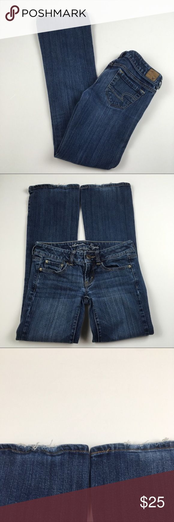 """American Eagle Favorite Boyfriend Jeans Size 0 Great condition. Some wear on bottom hem. Confirm with photos. Clean and comes from smoke free home. Questions welcomed. Approx. measurements: Waist: 14"""" across Inseam: 29.75"""" American Eagle Outfitters Jeans Boyfriend"""