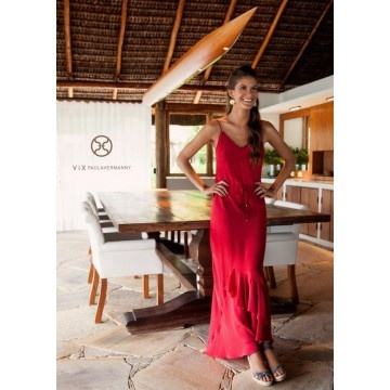 Solid Lana Red Long Dress by Vix