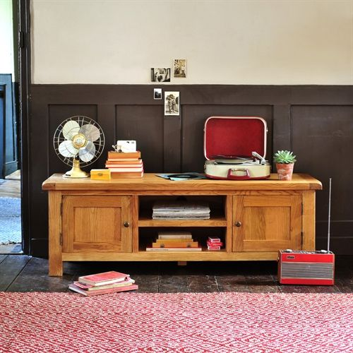 "Lyon Oak Low Flatscreen TV Stand with 2 Doors - up to 65"" (L393) with Free Delivery 