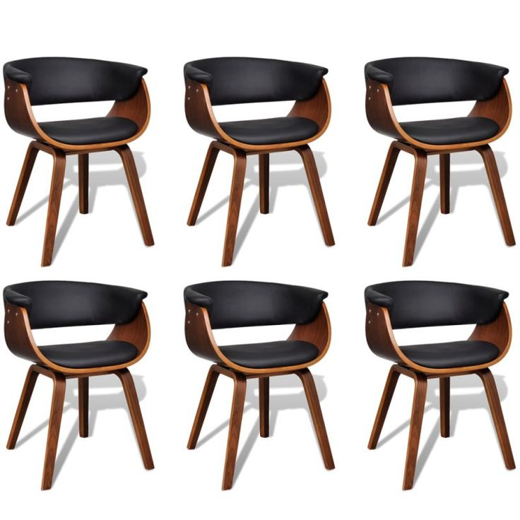 6x Wood and Faux Leather Cupped Back Dining Chairs   Buy New Arrivals