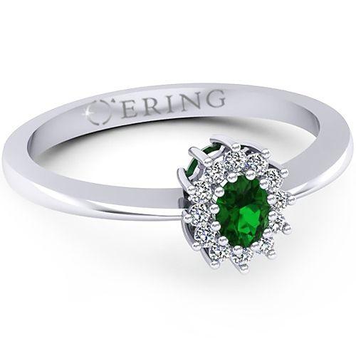 Inel logodna L36ASM inel cu diamante si smarald