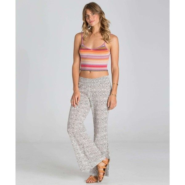 Billabong Women's Under The Moon Pants featuring polyvore, women's fashion, clothing, pants, white cap, rayon pants, relaxed pants, white pants, white beach pants and beach pants