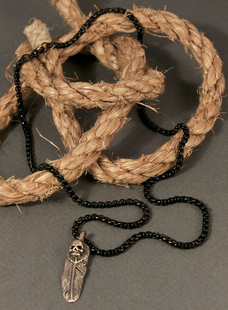 Unisex Black Steer Chain with Sterling Silver Pirate Skull