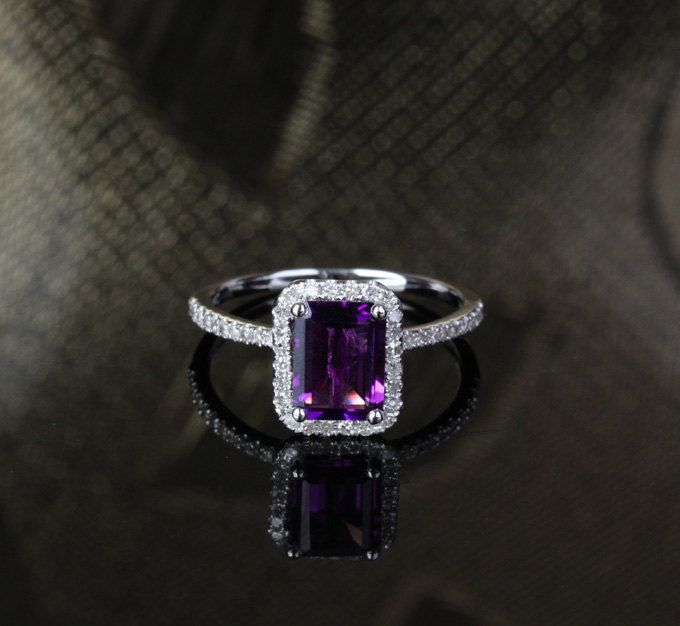 Engagement Wedding Ring 14k White Gold with Natural Amethyst and Diamonds. $560.00, via Etsy.