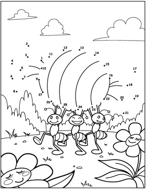 Ant dot-to-dot coloring page