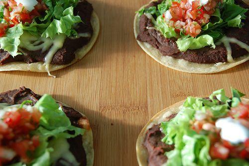 Vegetarian Dinner: Black Bean Tostadas with Roasted Mango Salsa
