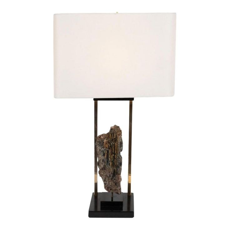 Mid-Century Organic Modern Mica, Brass, Black Enamel and Resin Table Lamp