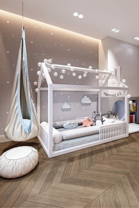 nice toddler bedroom furnished with wooden bed frame and hanging chair