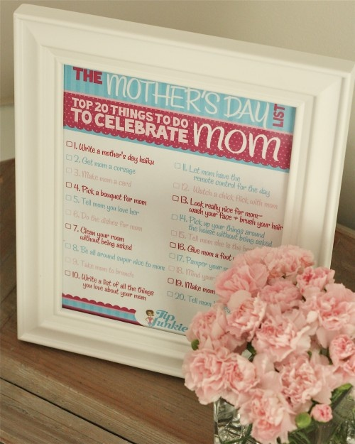 20 Things to do for MomMothers Day Free Printables, Free Mother´ Day Printables, Mothers Fath, Mothers Day Ideas, 20 Things, Families Activities, Mothers Day Gift, Mothers Day Cards, Mothers Day Activities