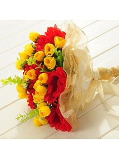 Sheen Organza Wrapped Yellow Tulip and Red Chrysanthemum Wedding Bouquet - USD $12.99