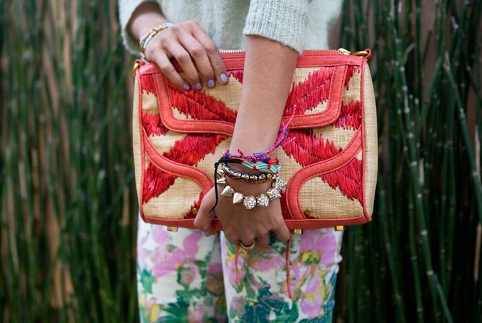 Printed clutchesSpikes Bracelets, Rebecca Minkoff, Over Clutches, Mixed Prints, Songs Hye-Kyo, Songs Of Style, Summer Bags, Layered Bracelets, Friendship Bracelets