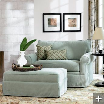 Grandin Road Alexandria Sleeper Chair & 1/2 and Ottoman (twin bed / also in ivy, henna and straw)