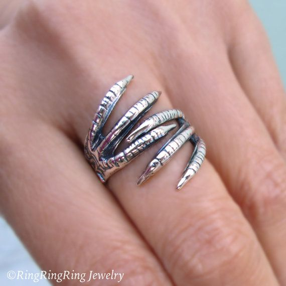 Unique Simple beautiful Double Talon Dragon Claw ring wraps around your finger for