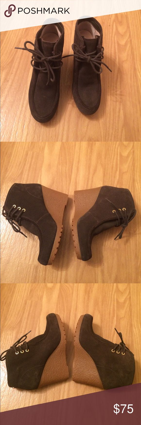 ⚡SALE⚡Michael Kors olive green wedge booties Michael Kors booties • olive green • wedge heel • leather (suede) • rugged soles • Sz 7.5 • like-new, 10/10 excellent condition • fast same/next day shipping Michael Kors Shoes Ankle Boots & Booties