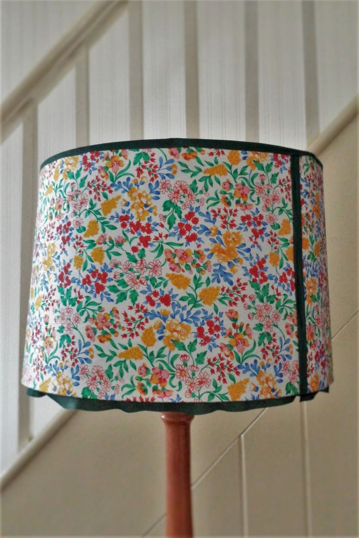 Lamp shade, standard lamp shade, White fabric lampshade, country garden fabric shade with dark green frill, table lamp shade, floral shade by Number11Interiors on Etsy