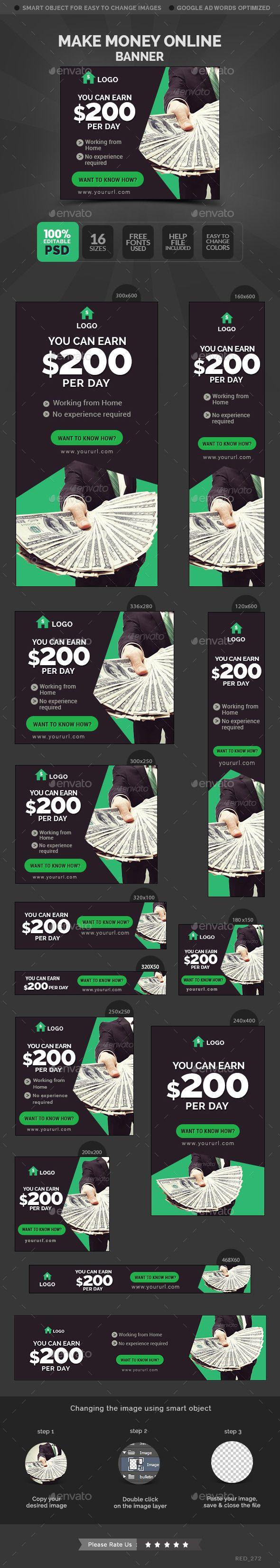 Make Money Online Banners Template #design Download: http://graphicriver.net/item/make-money-online-banners/11781362?ref=ksioks