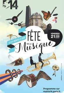 Affiche pour la Fête de la musique. Mairie du 14e - Fête de la musique : le 14e monte le son !