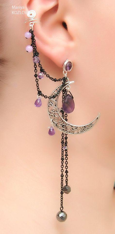 Silver Night Ear Cuff with Fairy Amethyst Stars by LotEarCuffs on Etsy