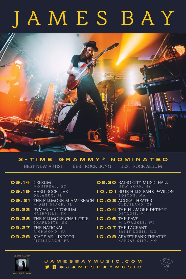 James Bay Falls Tour Dates 2016 - TICKETS ON 22 APRIL 2016 - #JamesBayMusic