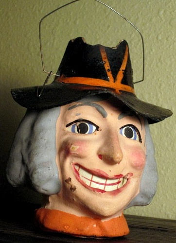 German Halloween Composition Witch Head Lantern