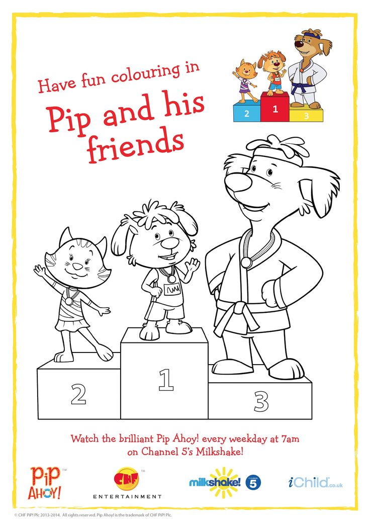 Pip and friends Podium Colouring In Picture to celebrate #Glasgow2014 Commonwealth Games