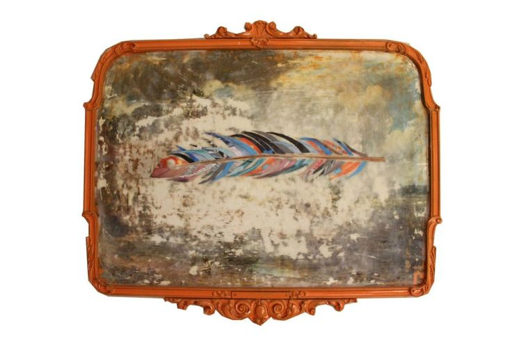 studioreset – portfolio Feather - photo encaustic mixed media artist from New Zealand. Upcycled framed constable print.