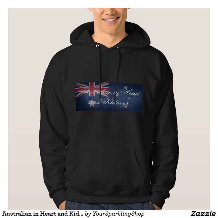 Australian in Heart & Kidneys, #Australia Men's Basic Hooded Sweatshirt