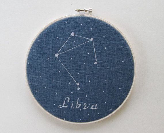 Hoop Art  Zodiac constellations Libra Hand by ThePaperNeedle  Hoop art, zodiac constellation, home décor, mother`s day, free shipping, thepaperneedle, astrology
