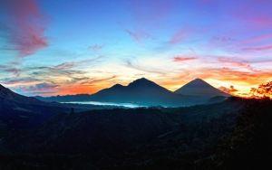 montañas de previsualización papel pintado, cielo, salida del sol, Bali…