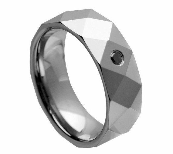 Alternative Jewelry, Tungsten Wedding Band TR  1948 mm. Обручальные вольфрамовые кольца, Муржское кольцо, Кольцо с бриллиантом.  Black Diamond by TungstenShop, $79.00