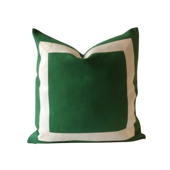 DECORATIVE THROW PILLOW COVER IN KELLY GREEN COTTON CANVAS WITH OFF WHITE GROSGRAIN RIBBON BORDER APPLIQUE - CLASSIC & MODERN STYLE    6 COLORS TO