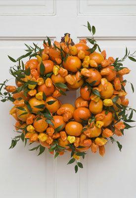 citrus wreathChristmas Wreaths, Ideas, Holiday Wreaths, Doors Decor, Flower Arrangements, Front Doors, Orange Wreaths, Citrus Wreaths, Fall Wreaths