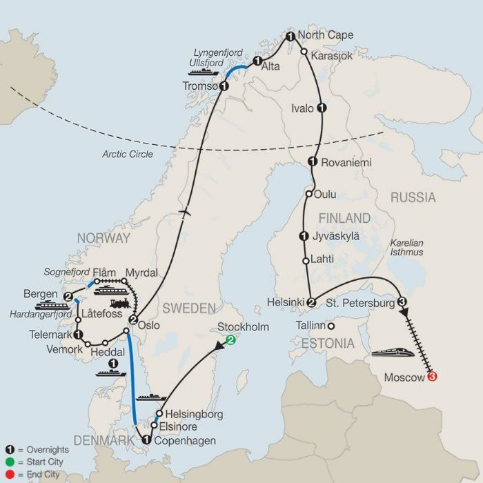 24 Day The Grand Scandinavian Circle Tour With St Petersburg Moscow Norway Travel Tours Europe Tours