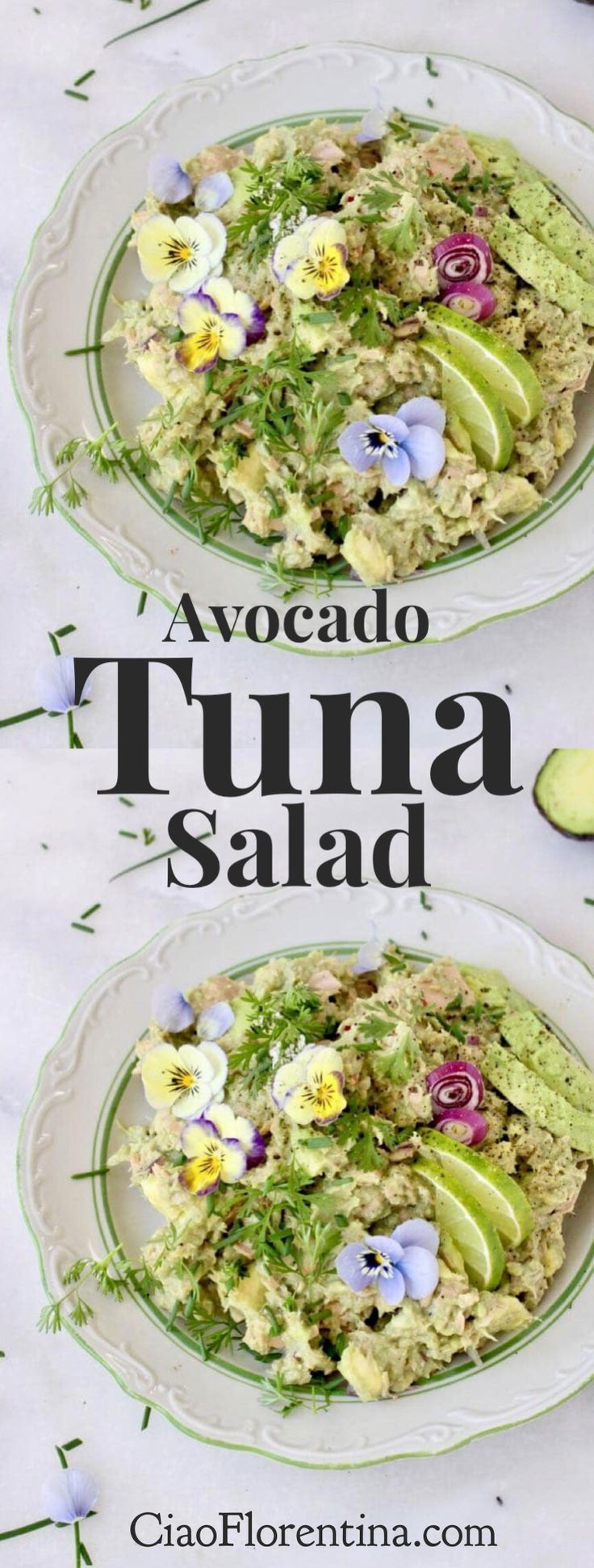 How to make the best avocado tuna salad, without mayo, just wild caught yellow fin tuna, creamy ripe avocados, zesty lime and your favorite herbs   CiaoFlorentina.com @CiaoFlorentina