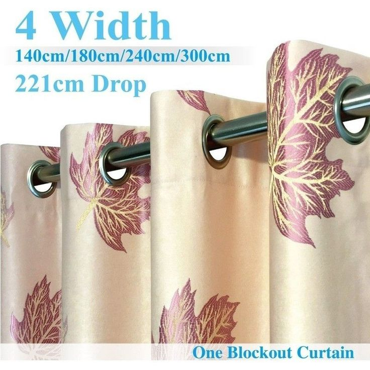 Single Panel Eyelet Block Out Curtain Cream & Leaf | Buy Home & Garden