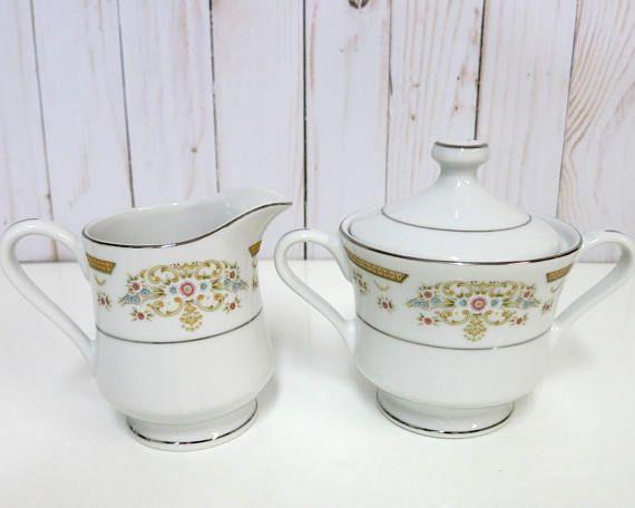 Vintage China Sugar Bowl and Creamer, China Sugar Bowl and Creamer, Signature Collection Sugar Bowl and Creamer, Coronet 117 -V287