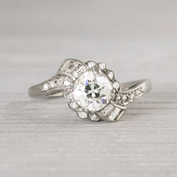 Image of 1.17 Carat Old European Cut Diamond Engagement Ring