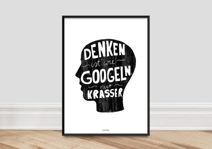 """Poster """"Denken ist wie googeln"""" // typo print via DaWanda.com"""