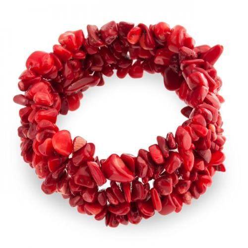 Bling Jewelry Woven Red Coral Gemstone Chips Chunky Stretch Bracelet
