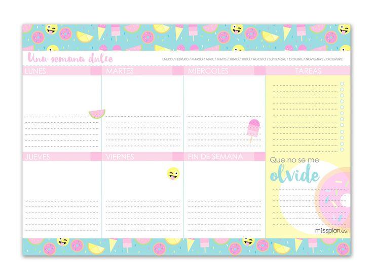 ¡ Organízate semana a semana de la forma más dulce! Incluye plan semanal, lista de tareas y tareas importantes. TAMAÑO A4 (21x30 cm) HOJAS 45Hojas CUBIERTAS Co