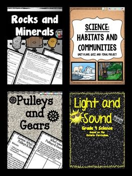 This Grade 4 Science Unit Bundle includes each of the following Units:(Please go to each link to preview each unit)Science-Habitats and CommunitiesScience- Rocks and MineralsScience - Light and SoundScience- Pulleys and GearsHabitats and Communities Unit includes:-11 lessons with extended activities to build upon learning for Habitats and Communities: Lesons on:-Habitats (2 lessons)-Why Plants and Animals Live Where they Do (2 lessons)-Living Things Need What to Survive-Exploring Local…