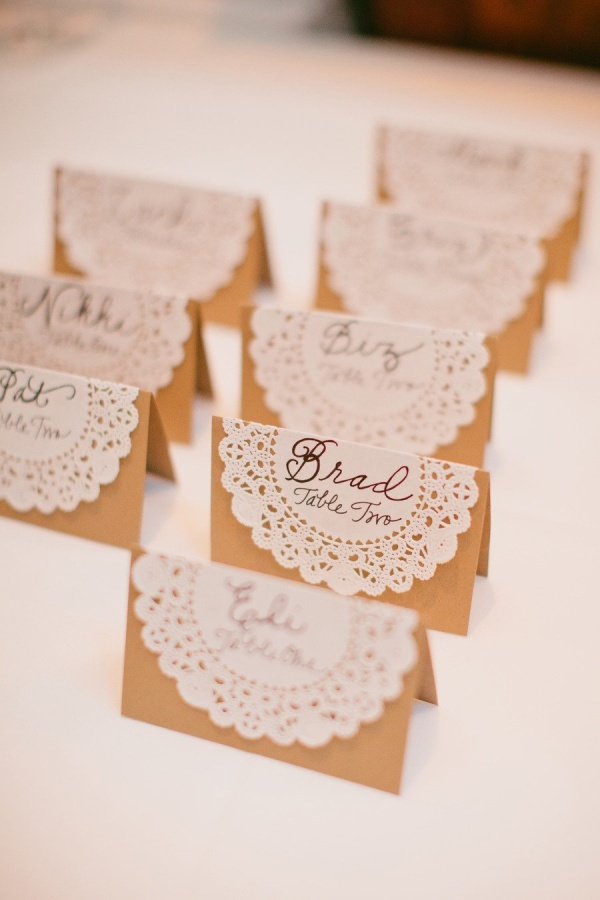 Small lace doily on thicker burlap/card stock to make nametag