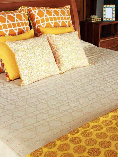 Lattice Beige Cotton Double Bed Cover (108in x 90in)