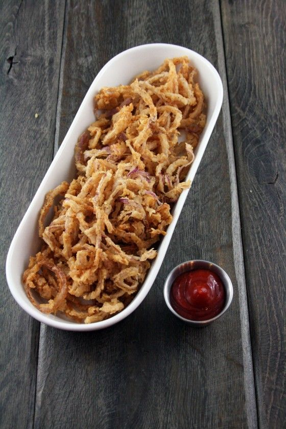 "Crispy Onion Straws - another awesome find from ""My Life as a Mrs.""      You should check out her blog, all of the recipes I've tried from her blog have been amazing and have become favorites!"