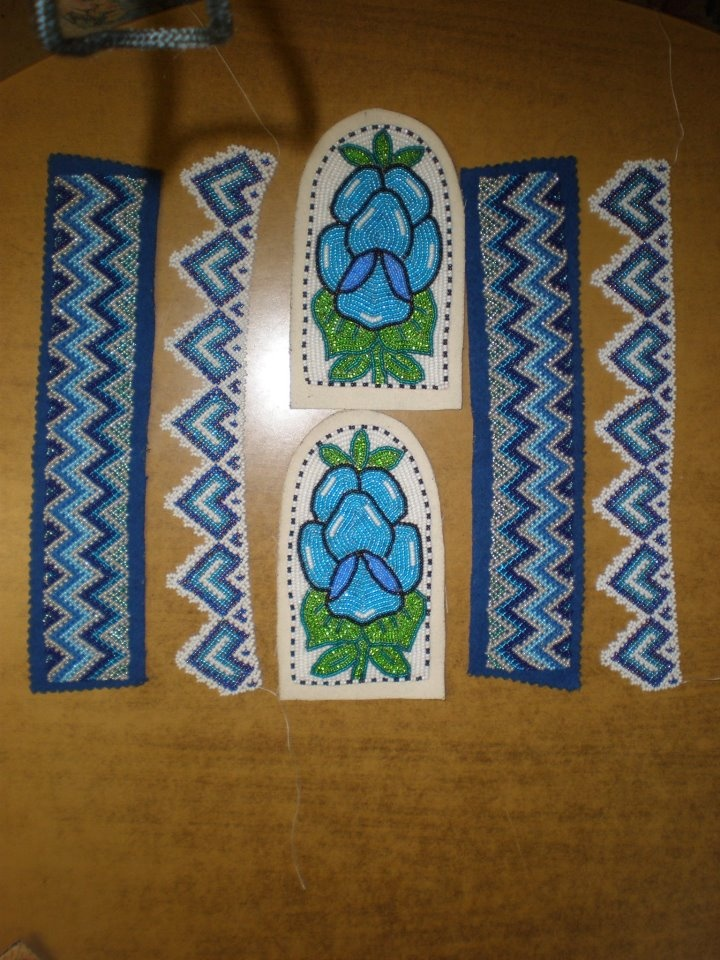 Inuit beaded toppers & sides for slippers by Charlene Koblogina Anderson