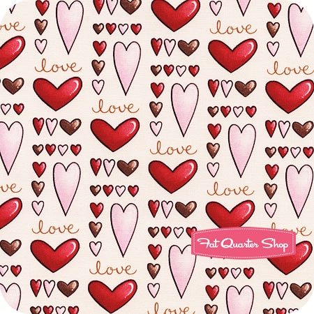 fabric sending my love hearts valentine red pink brown
