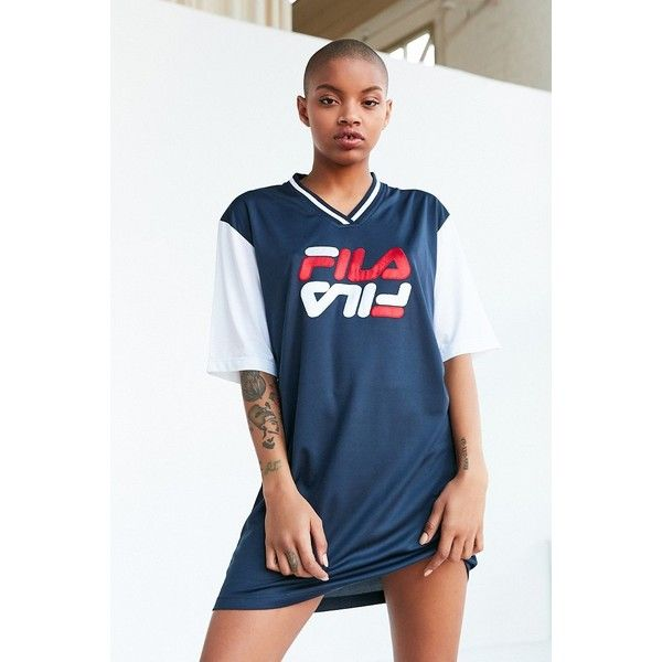 FILA + UO Bibi Baseball Mini Dress (100 CAD) ❤ liked on Polyvore featuring