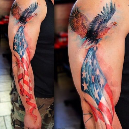 USA Flag Eagle Tattoo Designs And Ideas